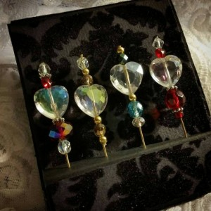 """The Four Queens""  Faceted Crystal Heart 3"" Stick Hat Pin Collection"