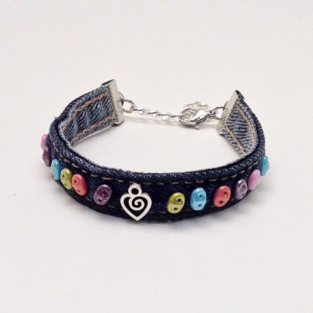 Blue Charm Bracelet: Beaded Denim Cuff Bracelet, Blue Jean Bracelet, Multi