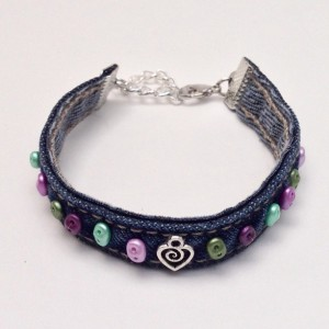 Denim Fabric Bracelet, Friendship Beaded Blue Jean Bracelet, Repurposed Recycled, Denim Wrap Bohemian Cuff Braclet, Purple Green Beads Heart