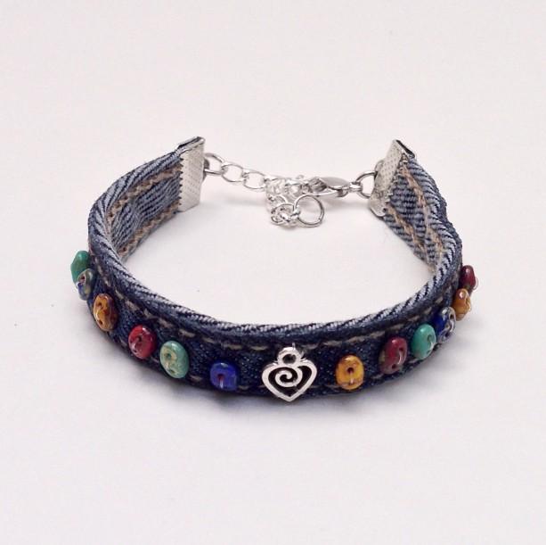 Denim Wrap Bracelet, Friendship Bead Denim Braclet, Eco Friendly Jewelry, Bohemian Cuff Bangle, Blue Jean Bracelet Heart Charm, Multi Color