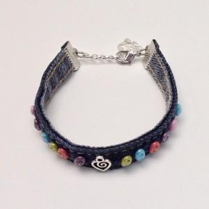Beaded Denim Cuff Bracelet, Blue Jean Bracelet, Multi Color Beaded Wrap Bracelet, Bohemian Bracelet Eco Friendly Jewelry Braclet Heart Charm