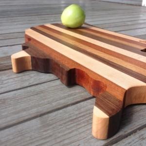 American Shaped Cutting Board - Butcher Block Mixed Grain - Great American Present - Hardwood Mixed Species