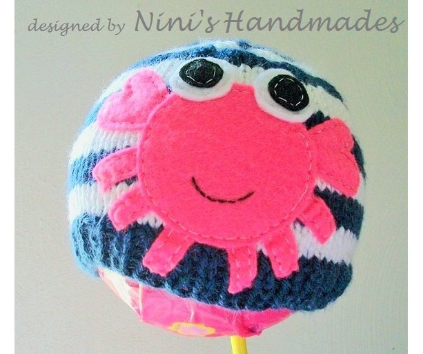 Knit Baby  Beanie with Hot pink Crab applique, quality hats, baby crochet hat, childrens clothing, girls , crab hat, crab applique hats