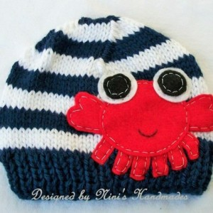 Knit Baby  Beanie with Crab applique, Made in America, quality hats, baby crochet hat, childrens fashion, childrens clothing and accessories