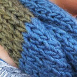 A Hand Knitted Navy Blue and Olive Green Infinity Scarf