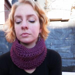 A Purple Knit Cowl Neck Scarf