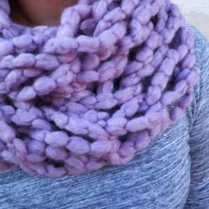 An Arm Knit Purple Cowl Neck Scarf