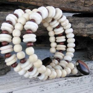 White Boho Bracelet-Bohemian Bracelet-Gypsy Beaded Bracelet-Bali Bracelet-Hippie Bracelet-Beaded Wrap Bracelet-Wrap Bracelet-Boho Jewelry