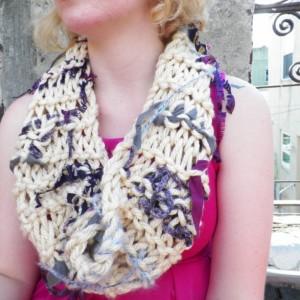 A Knit Beige Cowl Neck Scarf