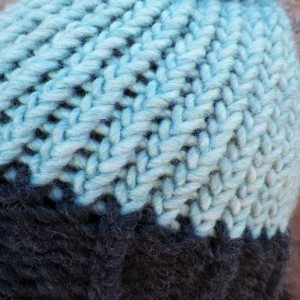 A Charcoal and Mint/Turquoise Knit Beanie with Pompom