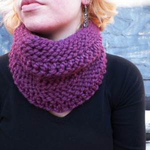 A Purple Knit Cowl Neck Scarf