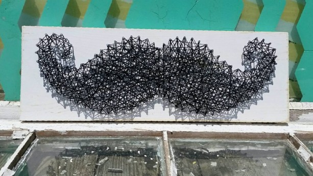String Art Mustache. Black and White Trendy Wall Art. | aftcra