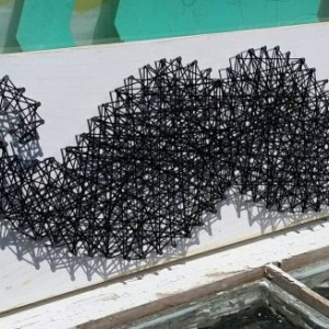 String Art Mustache. Black and White Trendy Wall Art.