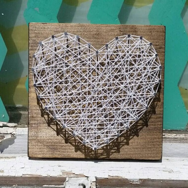 String Art Heart in White on Stained Wood. Unique Gift Idea by Nailed It Designs.