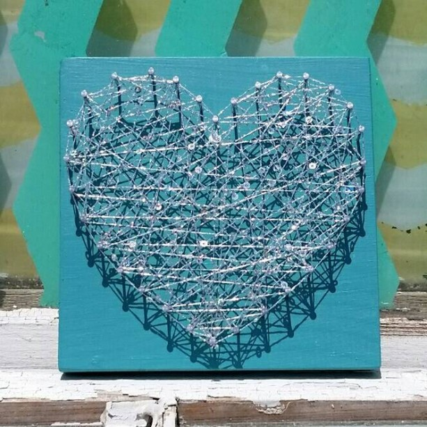 Sparkly String Art on Teal Blue Board. Unique Gift Idea by Nailed It Designs. Gifts under 10.