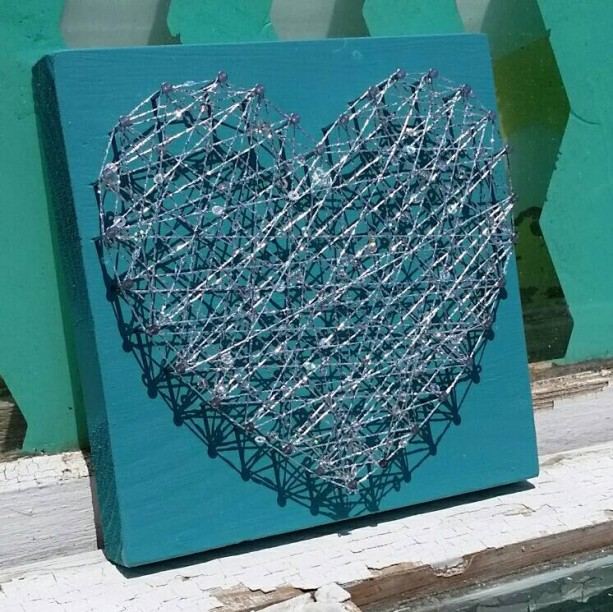 Sparkly String Art On Teal Blue Board Unique Gift Idea By Nailed It Designs