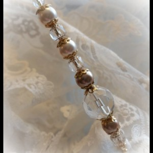 """Cotillion"" Vintage style 6 inch Ladies Golden Pearls and Swarovski Crystal Hat Stick Pin"