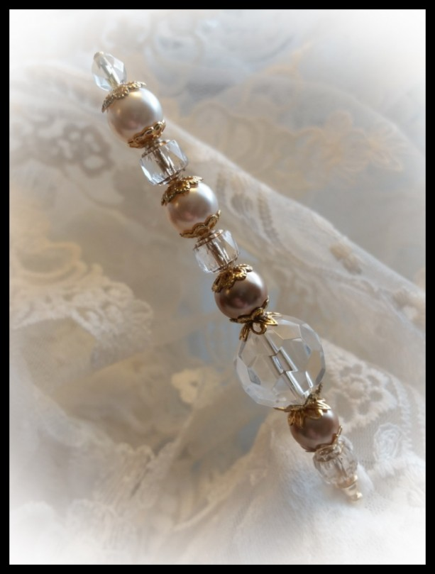 """""""Cotillion"""" Vintage style 6 inch Ladies Golden Pearls and Swarovski Crystal Hat Stick Pin"""