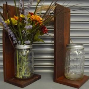 Mason Jar Decor, 2 Mason Jar Wall Sconce, Wall Sconce, Reclaimed Wood Sconce, FREE SHIPPING