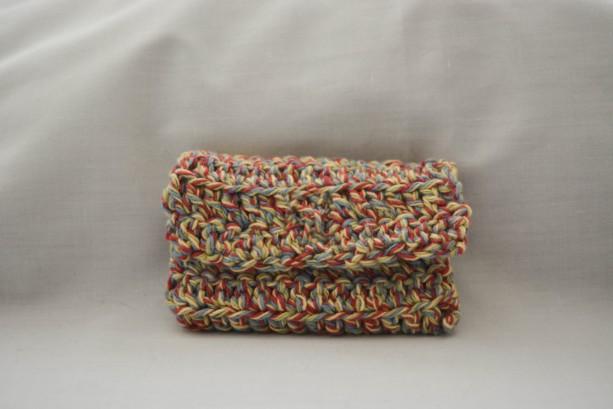 Multi color crochet wallet, handmade crochet wallet, coin purse, cotton crochet wallet, business card holder, crochet wallet snap