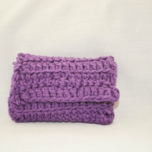 Purple crochet wallet, handmade crochet wallet, coin purse, cotton crochet wallet, business card holder, crochet wallet snap