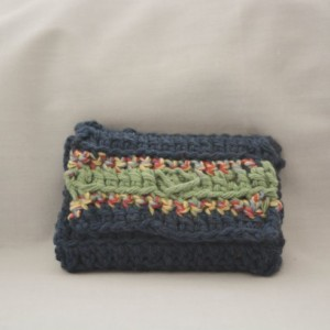 Navy blue stripe crochet wallet, handmade crochet wallet, coin purse, cotton crochet wallet, business card holder, crochet wallet snap