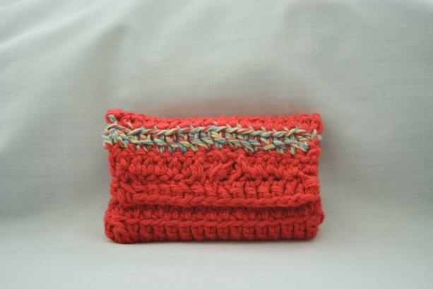 Red stripe crochet wallet, handmade crochet wallet, coin purse, cotton crochet wallet, business card holder, crochet wallet snap