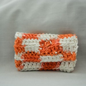 Orange checker crochet wallet, handmade crochet wallet, coin purse, cotton crochet wallet, business card holder, crochet wallet snap