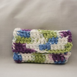 Blue white purple green crochet wallet, handmade crochet wallet coin purse, cotton crochet wallet, business card holder, crochet wallet snap