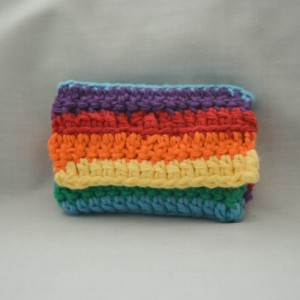 Rainbow LGBT pride crochet wallet, handmade crochet wallet, coin purse, cotton crochet wallet, business card holder, crochet wallet snap