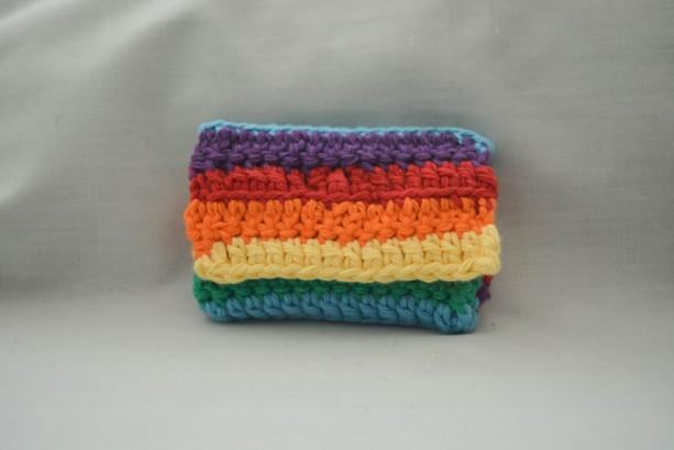 Rainbow LGBT pride crochet wallet, handmade crochet wallet, coin purse, cotton crochet wallet, business card holder, crochet wallet snap