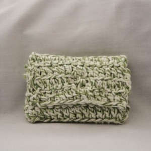 Green white crochet wallet, handmade crochet wallet, coin purse, cotton crochet wallet, business card holder, crochet wallet snap