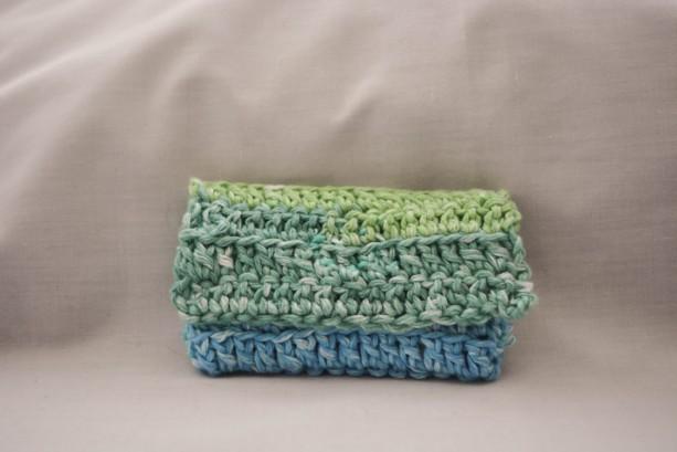 Green blue hombre crochet wallet, handmade crochet wallet, coin purse, cotton crochet wallet, business card holder, crochet wallet snap
