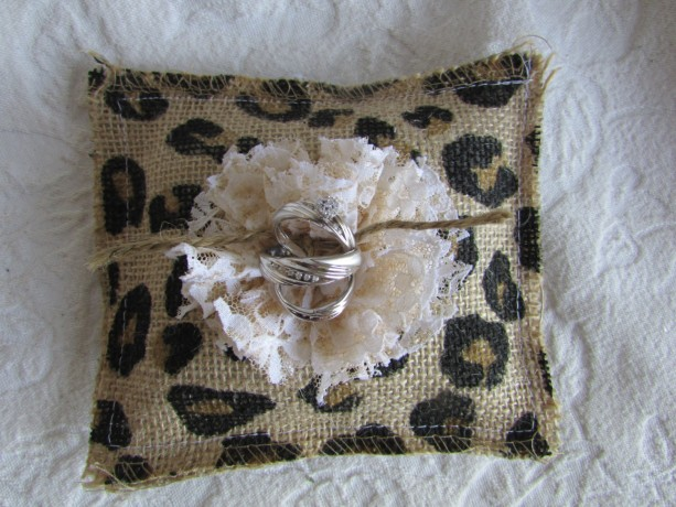 Burlap and Lace Wedding Ring Pillow with Coffee Stained Vintage Lace Flower Twine Rope Tie