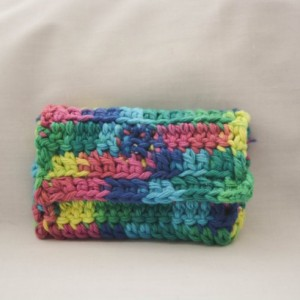 Rainbow color pattern crochet wallet, handmade crochet wallet, coin purse, cotton crochet wallet, business card holder, crochet wallet snap