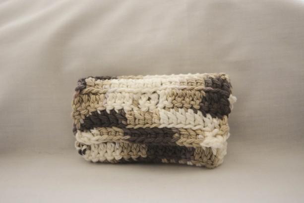 Brown white tan crochet wallet, handmade crochet wallet, coin purse, cotton crochet wallet, business card holder, crochet wallet snap