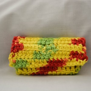 Yellow green red crochet wallet, handmade crochet wallet, coin purse, cotton crochet wallet, business card holder, crochet wallet snap