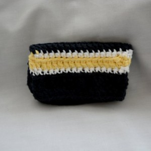 Black yellow stripe crochet wallet, handmade crochet wallet, coin purse, cotton crochet wallet, business card holder, crochet wallet snap