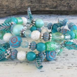 Coral Blue Bohemian Bracelet-Boho Bracelet-Gypsy Bracelet-Hippie Wrap Bracelet-Bali Bracelet-Beaded Wrap Bracelet-Boho Jewelry-Beaded Boho