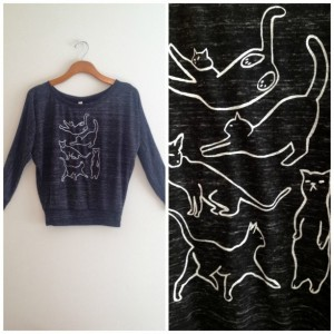 Cat long sleeve, black white, cat silhouette, cat sweater, yoga clothes, crazy cat lady, gift for cat lover, back to school, funny cat shirt