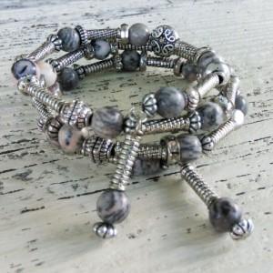 Silver Boho Wrap Bracelet-Gypsy Beaded Bracelet-Handmade Bracelet-Hippie Wrap-Wrap Bracelet-Boho Jewelry-Stack Bracelet-Layered Gypsy