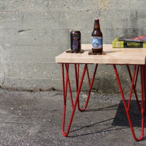 Industrial Wood and Metal Table, Solid Hardwood Maple with Red Steel Powder Coated Legs,  Modern Table, contemparary table