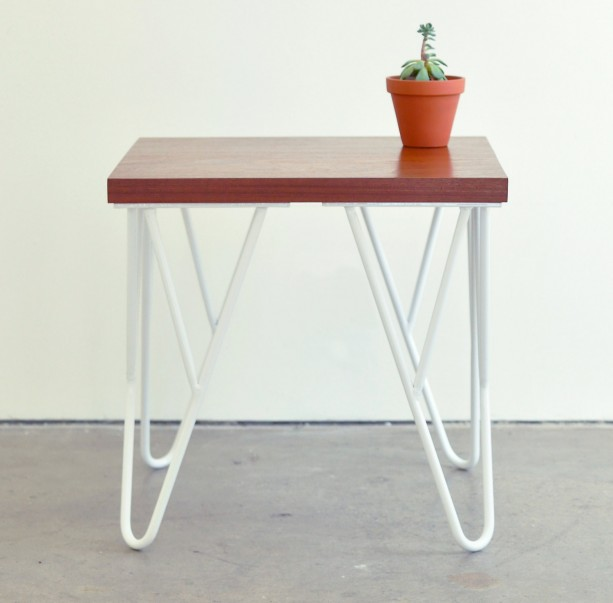 ... Contemporary Wood And Metal End Table   Solid Hardwood Sapele Top With  White Steel Powder Coated ...