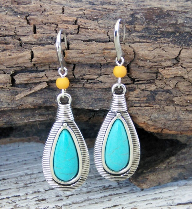 Boho Turquoise Earrings-Boho Earrings-Boho Jewelry-Gypsy Earrings-Bohemian Earrings-Tribal Earrings-Bohemian Jewelry-Hippie Earrings-Boho
