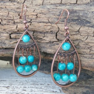 Bohemian Blue Copper Earrings-Boho Earrings-Dangle Earrings-Bohemain Jewelry-Earrings-Boho Jewelry-Gypsy Earrings-Tribal Earrings-Drop Boho