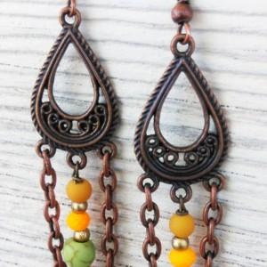 Copper Boho Earrings-Boho Jewelry-Gypsy Earrings-Bohemian Earrings-Tribal Earrings-Bohemian Jewelry-Hippie Earrings-Ethnic earrings-Boho-