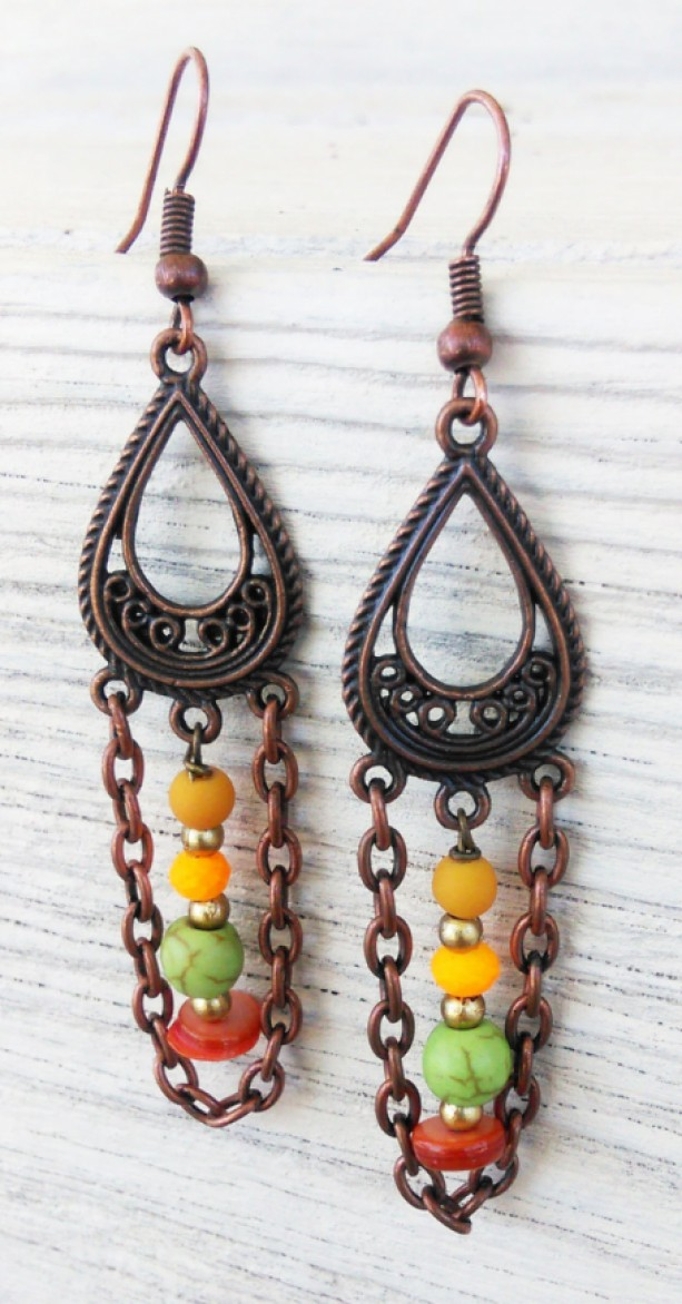 Copper Boho Earrings Jewelry Gypsy Bohemian Tribal