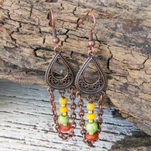 Copper Boho Earrings-Boho Jewelry-Gypsy Earrings-Bohemian Earrings-Tribal Earrings-Bohemian Jewelry-Hippie Earrings-Ethnic earrings-Boho-