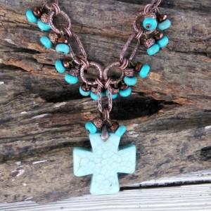 Western Cross Jewelry-Cowgirl Jewelry-Rodeo Jewelry-Western Necklace-Southwestern Jewelry-Turquoise Necklace-Rodeo Cross Necklace-Cowgirl