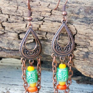 Boho Earrings-Copper Boho Jewelry-Gypsy Earrings-Bohemian Earrings-Tribal Earrings-Bohemian Jewelry-Hippie Earrings-Ethnic Earrings-Boho-